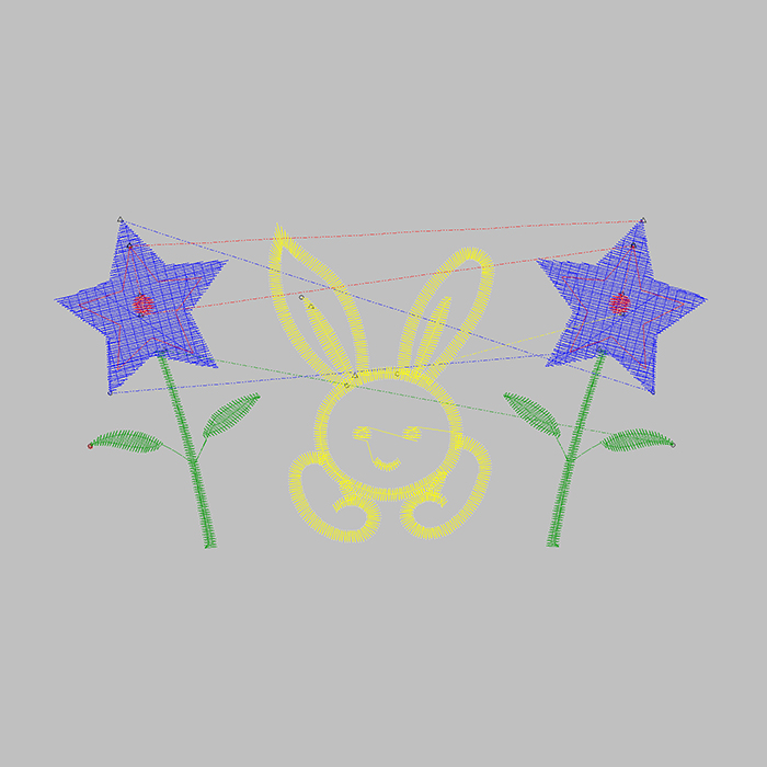 Rabbits And Flowers Are Embroidered in Large Areas with Colorful Colors