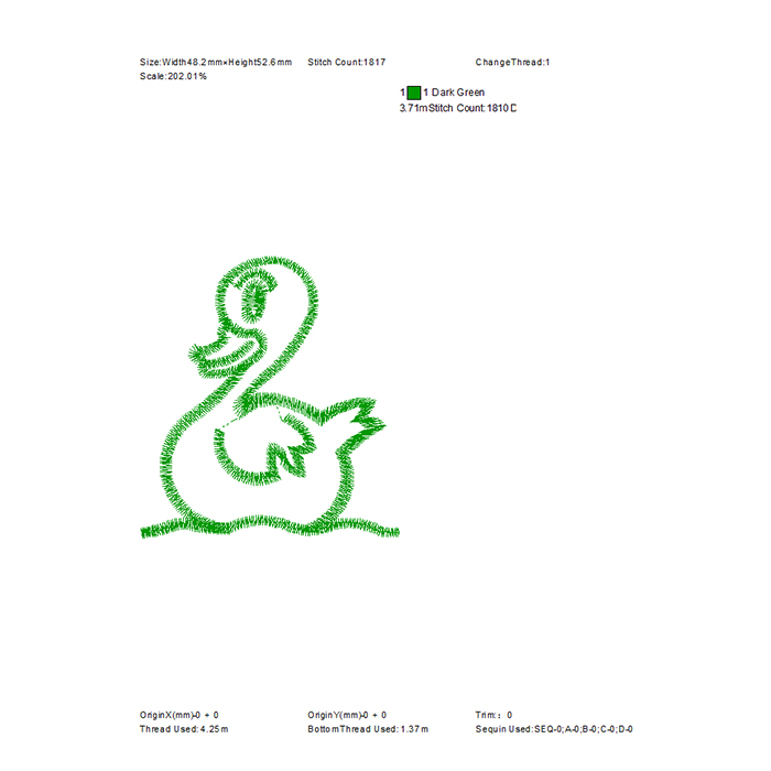 Free little swan embroidery pattern for school uniform embroidery