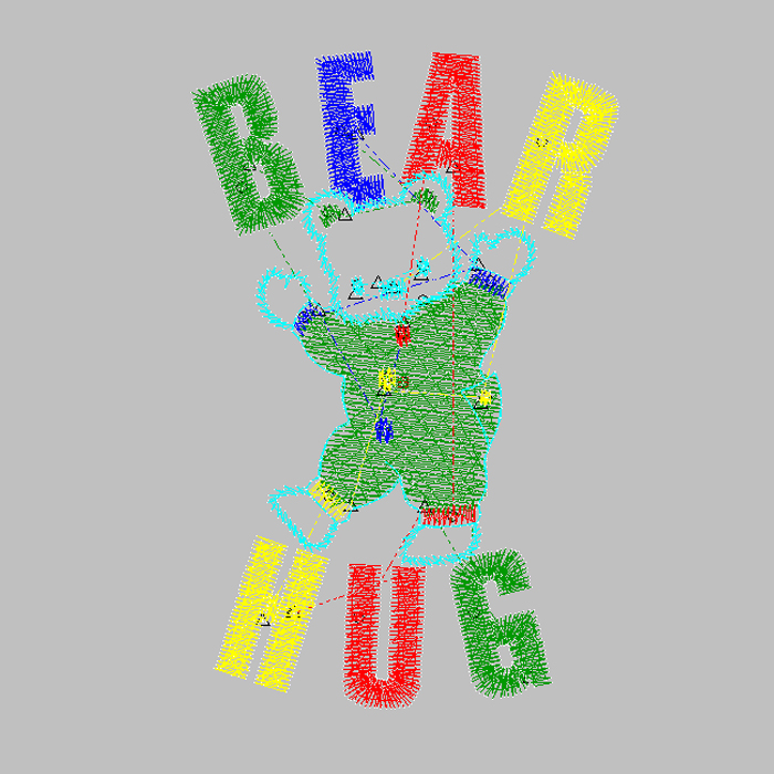 Cute bear embroidery pattern for baseball uniform