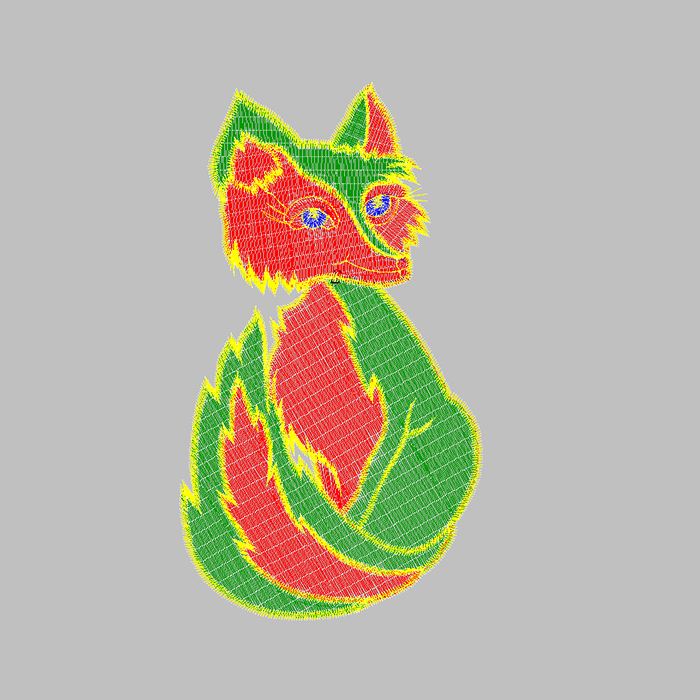 Fox embroidery pattern for car seat embroidery