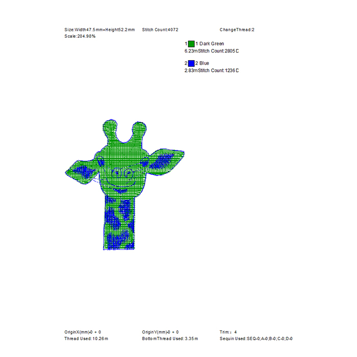 2020 most popular cute giraffe embroidery pattern