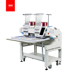 BAI Fast Speed 2 Heads Garment Flatbed Hat/hat Shoe Embroidery Machine