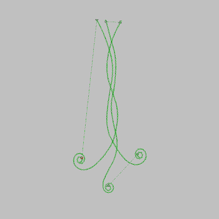 Green Simple Line Flower Embroidery For Denim Embroidery
