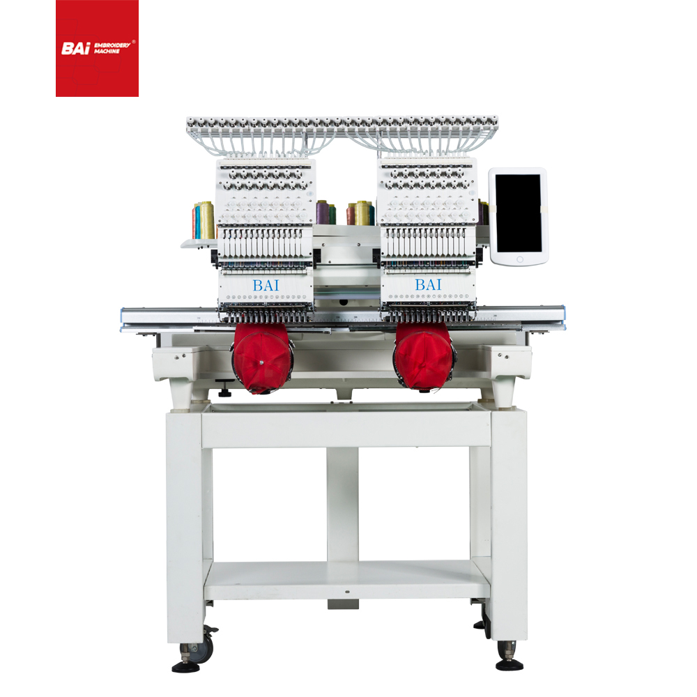 BAI Two Heads Computerized Operation 450*500mm Shoe Embroidery Machine Supplier for Commerical