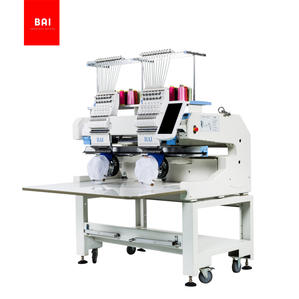 BAI High Effciency Two Heads Double Hat Head Flat Embroidery Machine Price