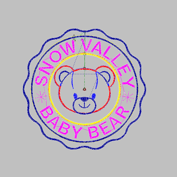 Large-area embroidery pattern with letter printed bear