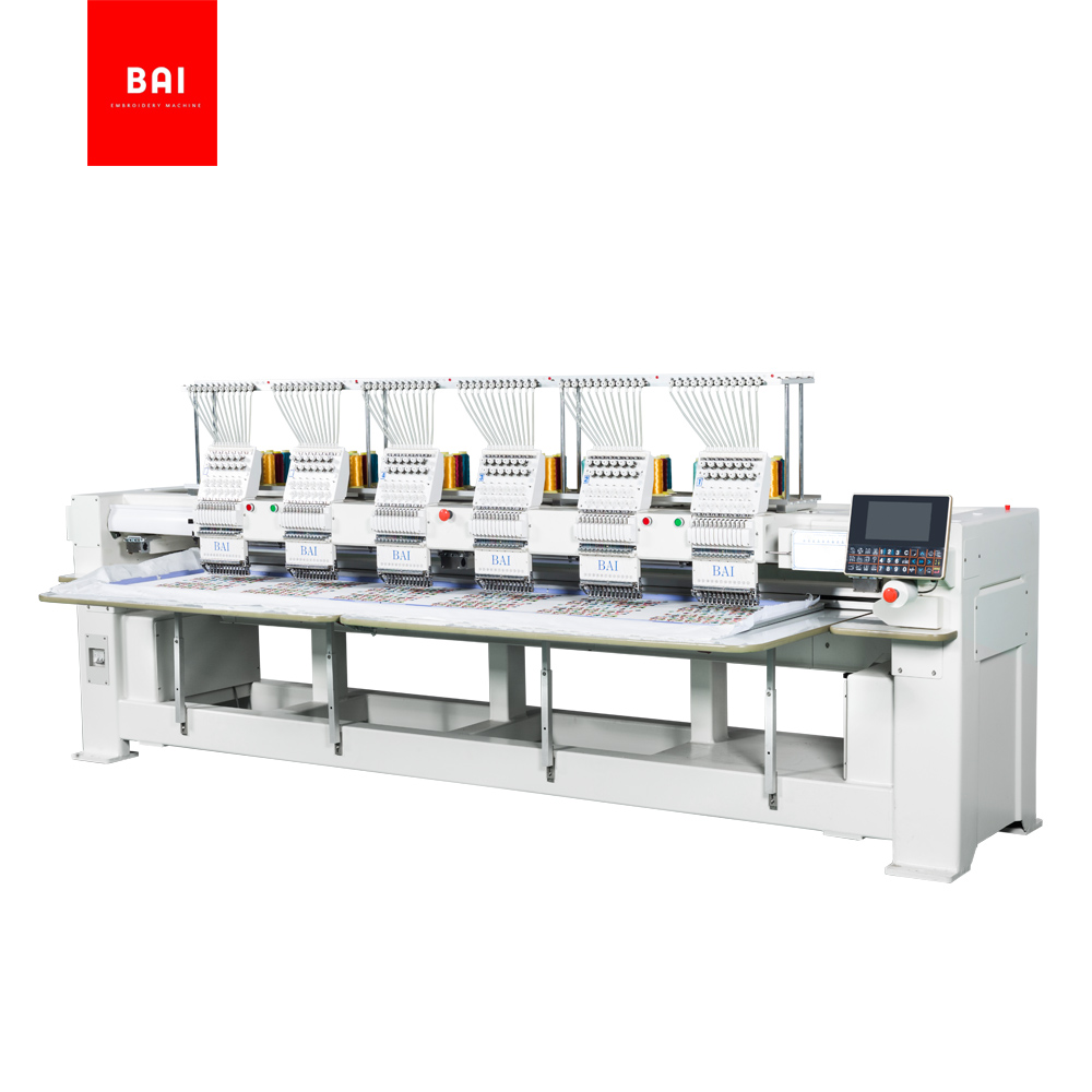 BAI High Speed Automatic Multifunctional Computer 6 Heads Hat Embroidery Machine Price