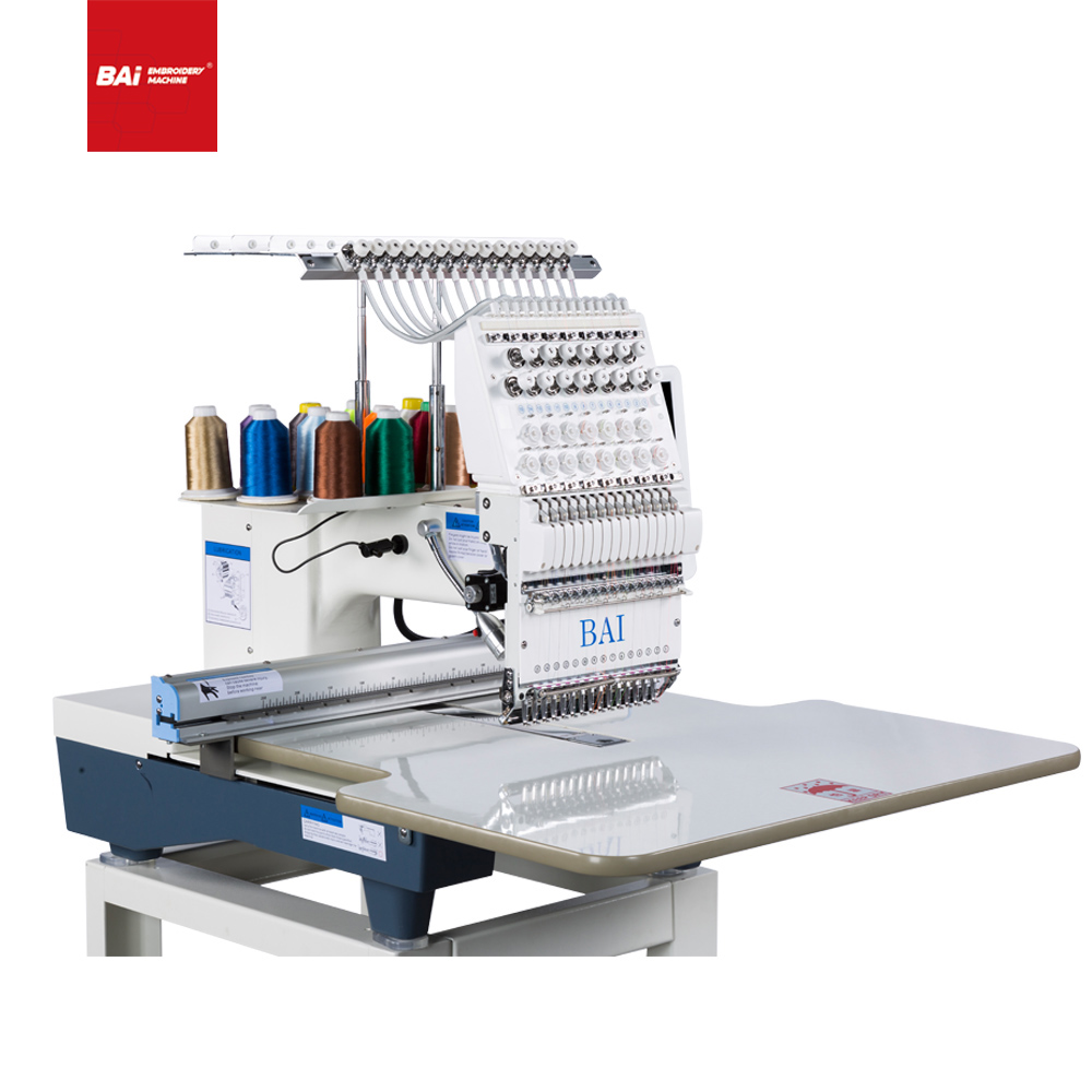 BAI Factory Type Single Head High Speed Cap T-shirt Flat Embroidery Machine with High Production