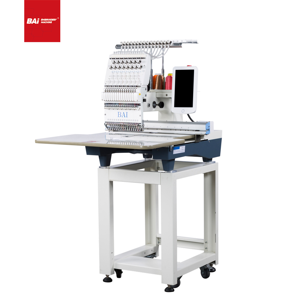 BAI Single Head 12 Needles Multifunctional Commercial Embroidery Machine with Worktable Size 350*500mm