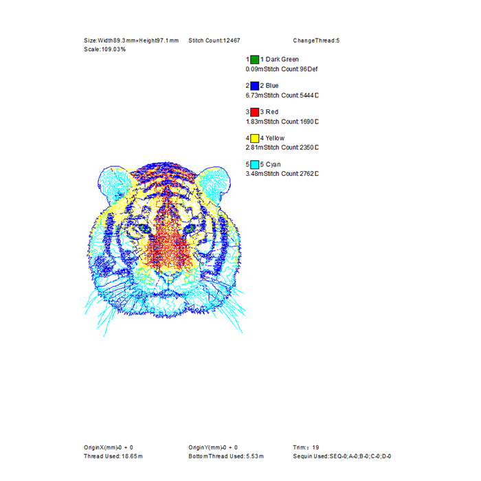 Cool Design The Latest Hot Color Tiger Pattern Large Area Embroidery in 2020