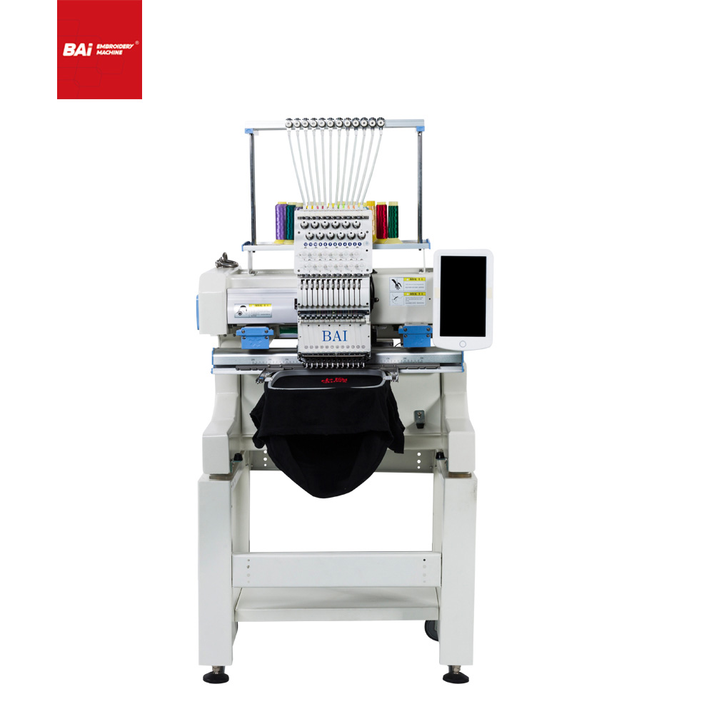 BAI Single Head Compact Embroidery Machine for Programmable with Multi Color Embroidery