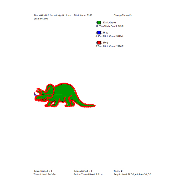 Children's Embroidery Pattern Small Dinosaur Large Area Embroidery Can Be Used for Clothes And Hats