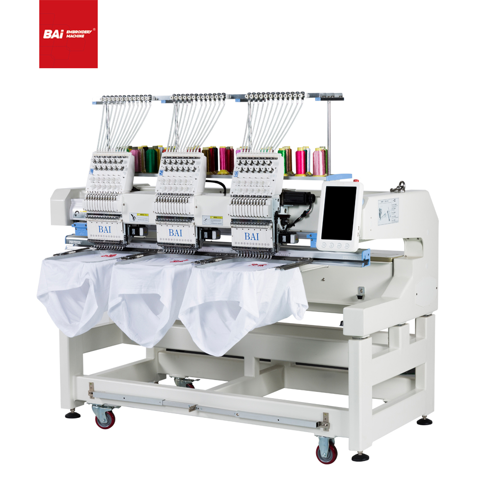 BAI 3 Heads 400*500mm Computerized High Speed Cap Embroidery Machine