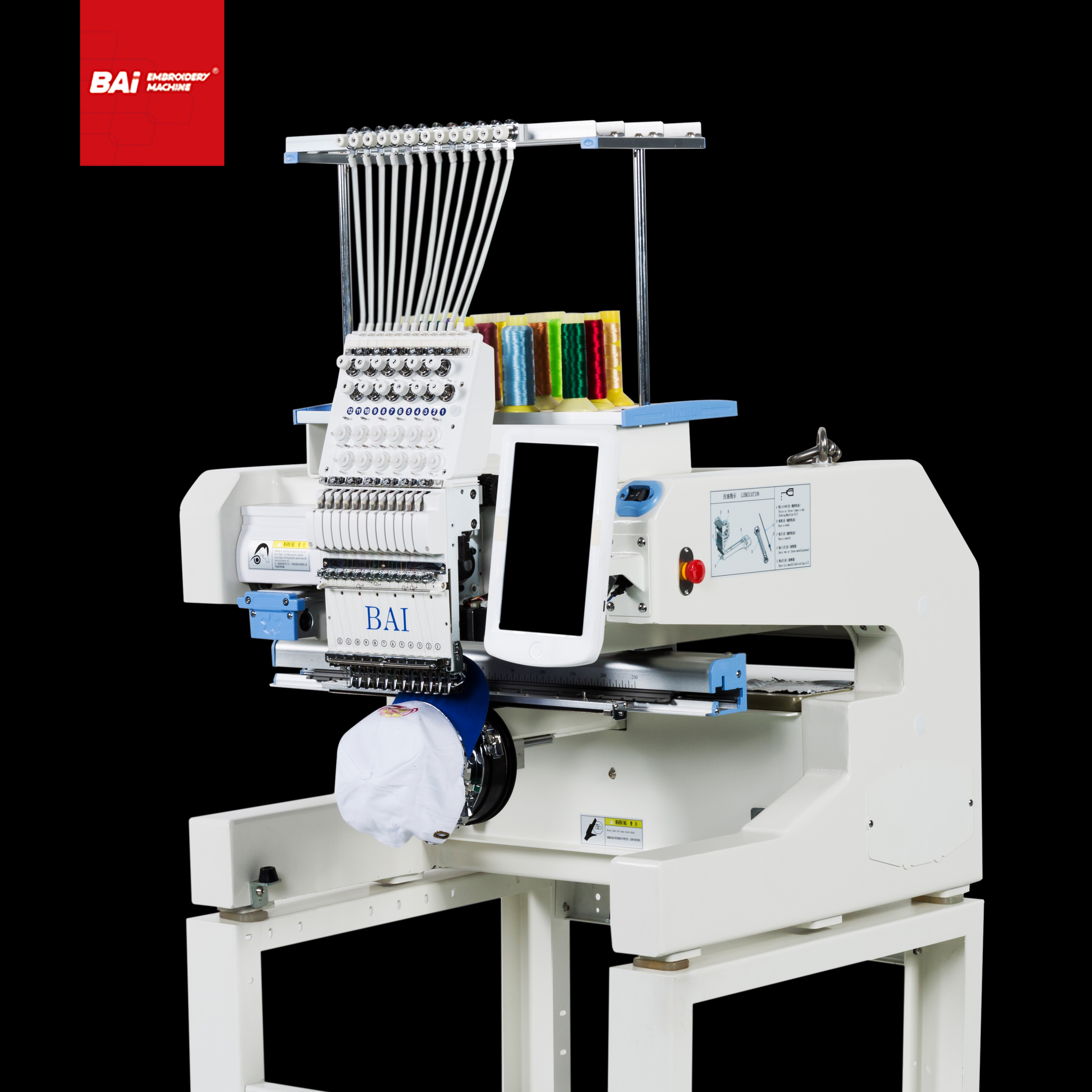 BAI 12 Needles Cap Flat Embroidery Machine for Multi Function