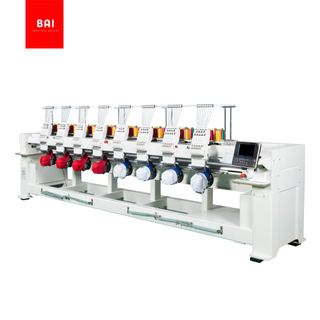 BAI High Speed 9 Color 8 Heads Computerized Garments Hat T Shirt Flat Embroidery Machine