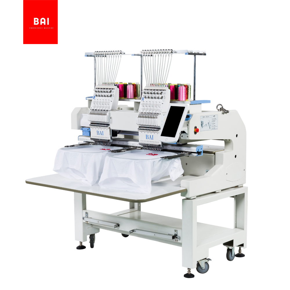 BAI Home Application High Speed 2 Heads Towel Hat Embroidery Machine